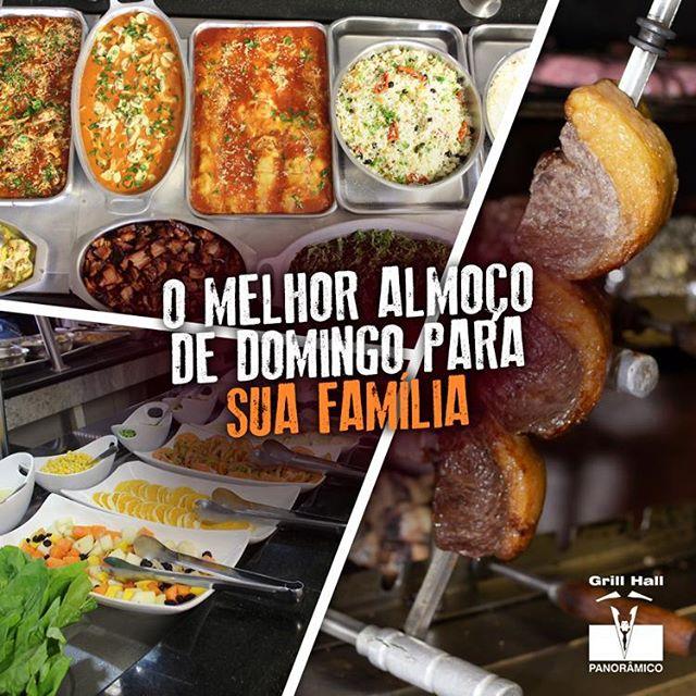<p>Domingo é dia de comer sem pensar nas calorias. Melhor ainda se for para ir ao #GrillHallPanoramico. Esperamos por você e sua família, são mais de 20 variedades de carne em nosso Rodízio de Carnes, um Buffet completo de pratos quentes, saladas e sobremesas.?? #EuNoGrillHallPanorâmico #eunogrillhall #ChurrascoTodoDia #buffet</p>