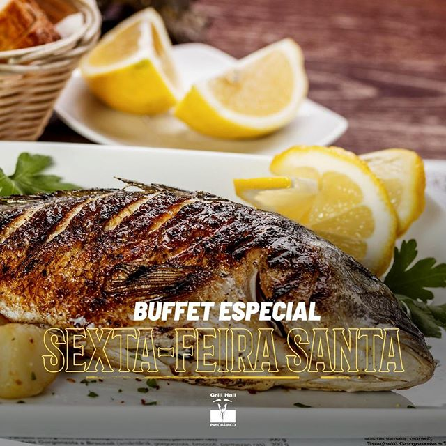 <p>Para a sexta-feira Santa vamos ter um Buffet Especial com opções de peixeis, além de nossas opções de saladas e sobremesas. Venha passar bons momentos ao lado da família no #GrillHallPanoramico. ? Não estaremos servindo o Rodízio de Carnes na sexta-feira dia 19/04.</p> <p>#EuNoGrillHallPanorâmico #eunogrillhall #ChurrascoTodoDia</p>