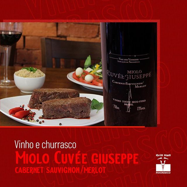 <p>O elegante e intenso Miolo Cuvée Giuseppe Merlot/Cabernet Sauvignon faz parte de nossa adega. Produzido com as melhores uvas dos vinhedos, seu sabor é bem estruturado e equilibrado com taninos marcantes. Ideal para acompanhar carnes suculentas, como a raquete.?<br /> ?<br /> #EuNoGrillHallPanorâmico #eunogrillhall #ChurrascoTodoDia #vinhoechurrasco #miolo #cuveegiuseppe #cabernetsauvignonmerlot?</p>