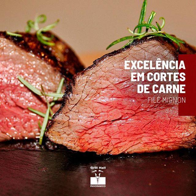 <p>O Filé Mignon é um corte nobre e muito apreciado por nossos clientes. É uma carne muito macia, tem pouca gordura, extremamente saborosa e você a encontra no nosso tradicional Rodízio de Carnes.?<br /> ?<br /> #EuNoGrillHallPanorâmico #eunogrillhall #ChurrascoTodoDia #cortesdecarne #excelenciaemcortes #filemignon</p>