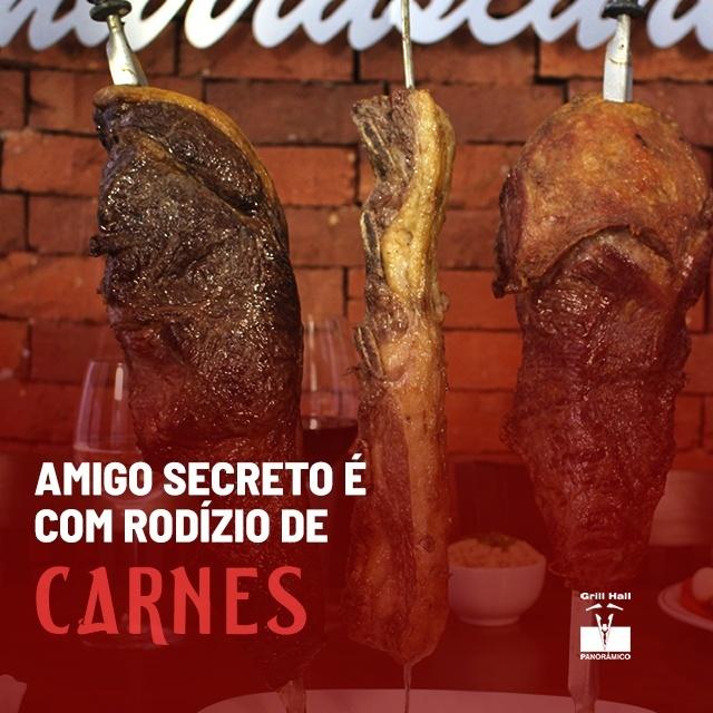 <p>A tradicional revelação do amigo secreto merece um delicioso Buffet de Pratos Quentes, Saladas, Sobremesas e o mais tradicional Rodízio de Carnes de Passo Fundo.?<br /> ?<br /> Faça a sua reserva: ? (54) 3313-5851?<br /> .#EuNoGrillHallPanorâmico #eunogrillhall #ChurrascoTodoDia #churrascaria #churrasco #amigosecreto #rodiziodecarnes</p>